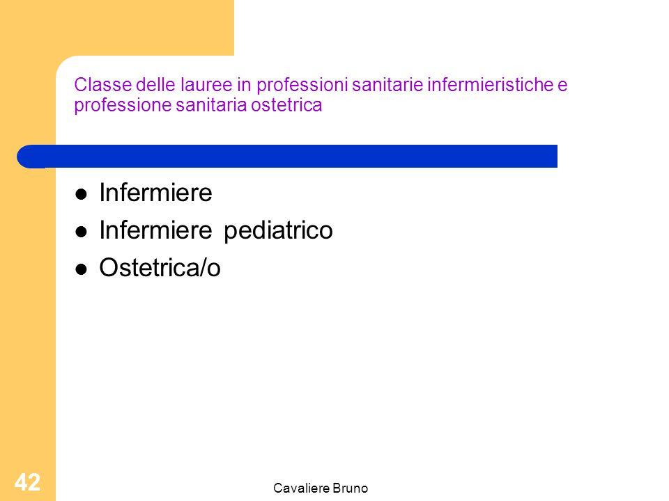 Cavaliere Bruno 41 Le classi di laurea 1) Classe delle lauree in professioni sanitarie infermieristiche e professione sanitaria ostetrica 2) Classe de