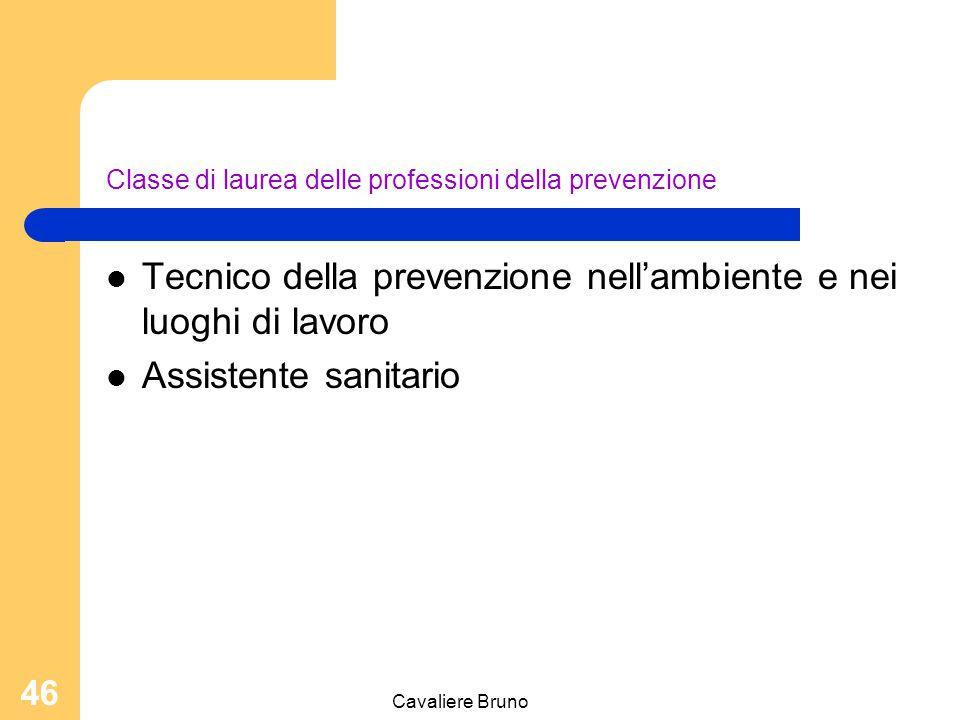 Cavaliere Bruno 45 Classe delle lauree in professioni sanitarie tecniche Area tecnico assistenziale Tecnico ortopedico Tecnico audioprotesista Tecnico