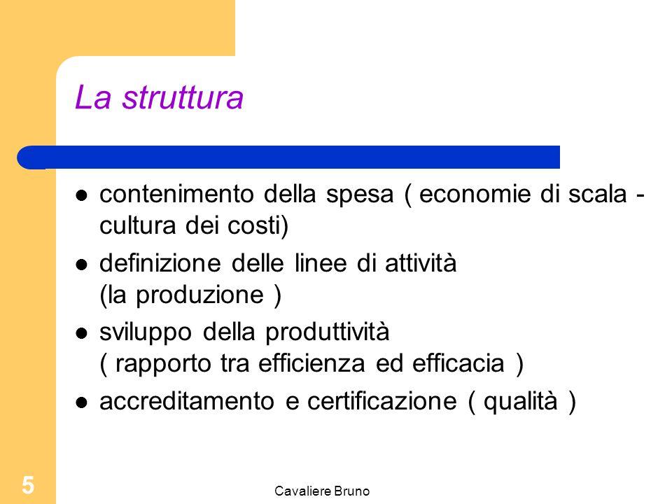 Cavaliere Bruno 5 La struttura contenimento della spesa ( economie di scala - cultura dei costi) definizione delle linee di attività (la produzione ) sviluppo della produttività ( rapporto tra efficienza ed efficacia ) accreditamento e certificazione ( qualità )