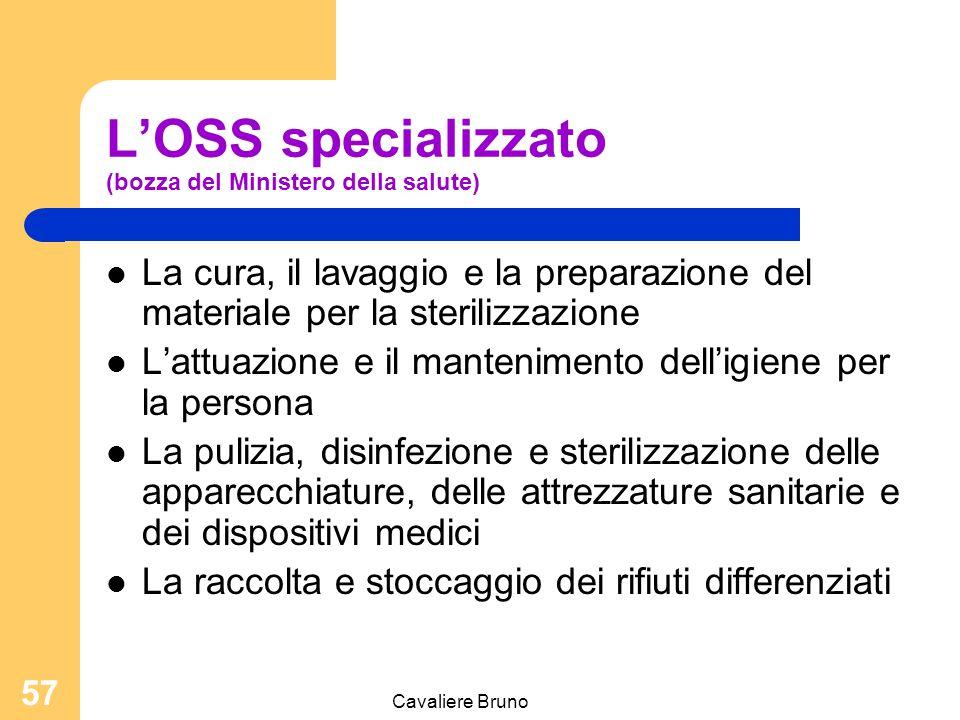 Cavaliere Bruno 56 L'OSS specializzato (bozza del Ministero della salute) Medicazioni semplici e bendaggi Esecuzione clisteri Mobilizzazione dei pazie