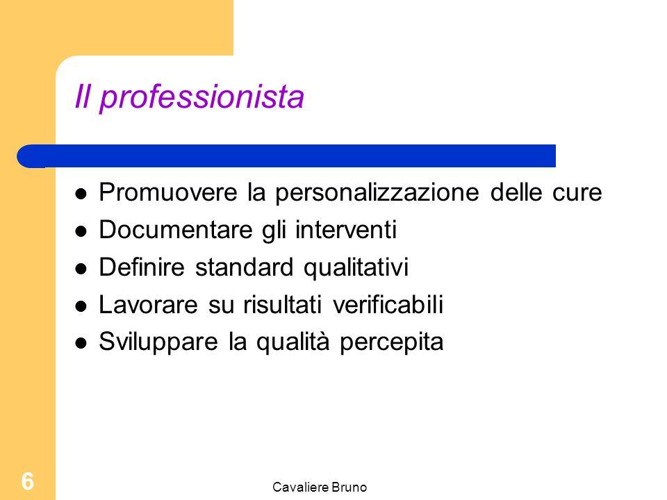 Cavaliere Bruno 6 Il professionista Promuovere la personalizzazione delle cure Documentare gli interventi Definire standard qualitativi Lavorare su risultati verificabili Sviluppare la qualità percepita