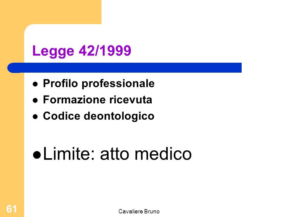 Cavaliere Bruno 60 Le riforme dell'esercizio professionale Legge 26 febbraio 1999, n. 42 Disposizioni in materia di professioni sanitarie Legge 10 ago