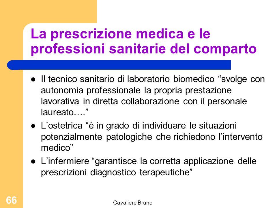 """Cavaliere Bruno 65 La prescrizione medica e le professioni sanitarie del comparto Il tecnico sanitario di radiologia medica è abilitato a svolgere """"su"""