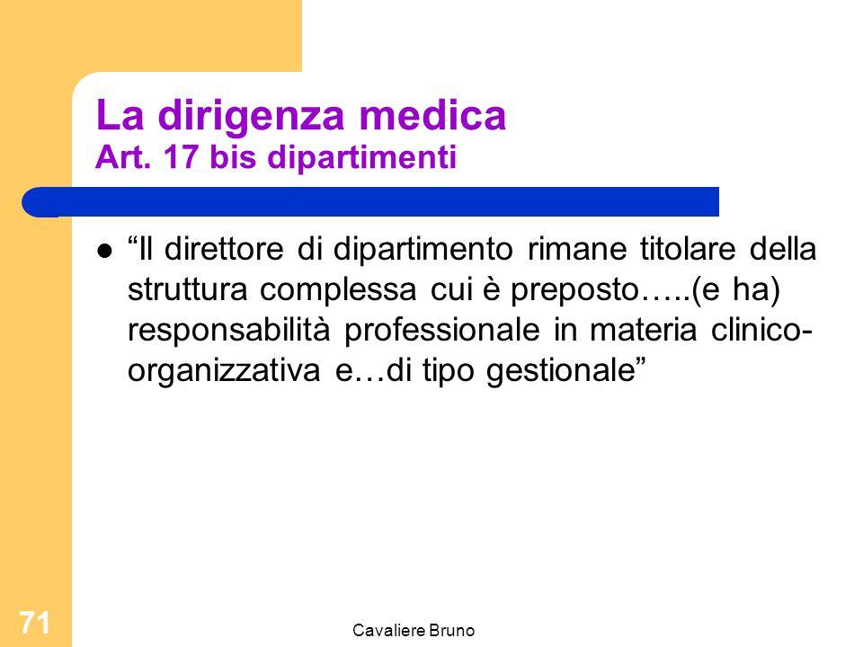 """Cavaliere Bruno 70 La dirigenza medica Art. 15 d.lgs 502/1992 """"Ai dirigenti con incarico di struttura complessa sono attribuite, oltre a quelle deriva"""