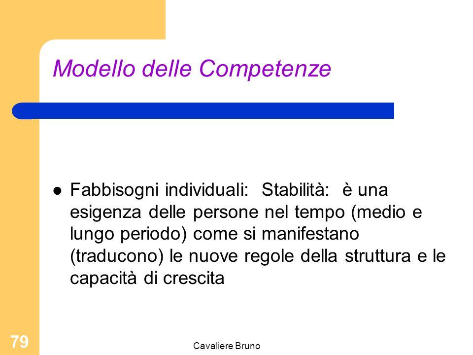 Cavaliere Bruno 78 Modello delle Competenze Fabbisogni individuali: identità: chiarezza di chi sono e cosa faccio regole del gioco ; definizione degli spazi propri = Funzioni chiare