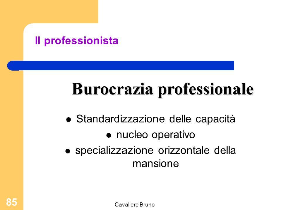 Cavaliere Bruno 84 Nucleo operativo Vertice strategico Linea intermedia Tecnostrutt ura Staff Collaboraz.n e professionalizzaz.