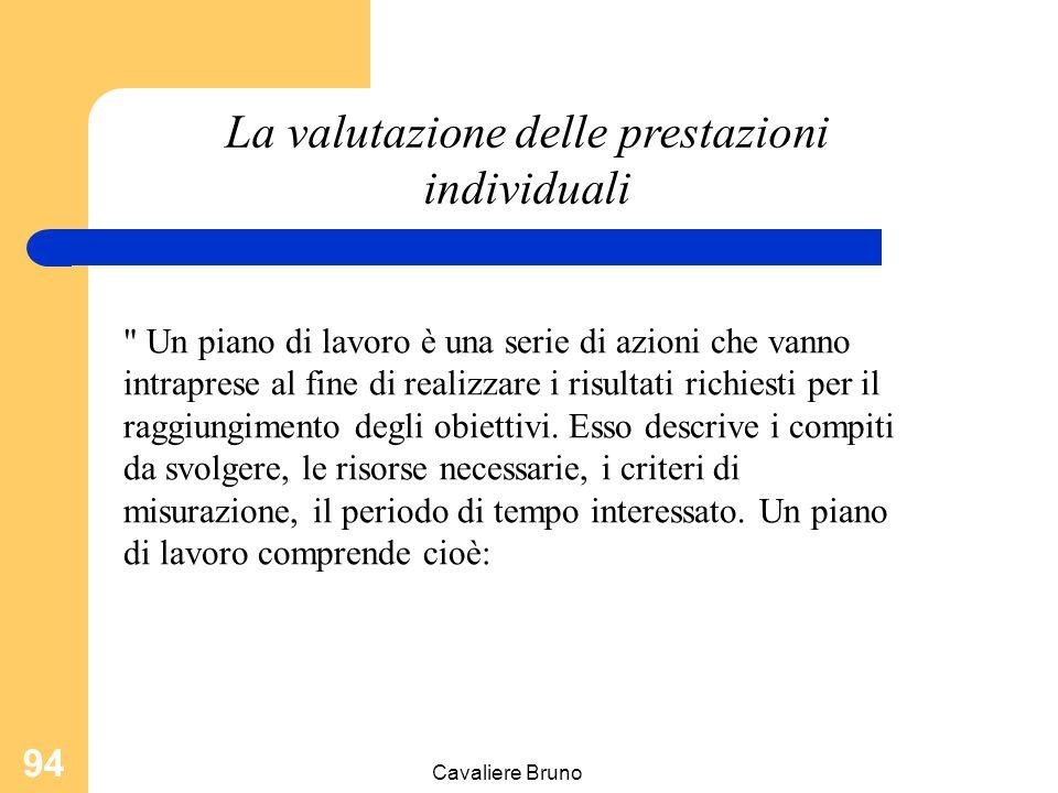 Cavaliere Bruno 93 La valutazione delle prestazioni individuali fissazione degli obiettivi; impostazione dei piani di lavoro; scelta dei criteri per l