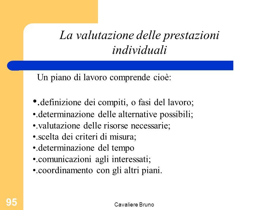 Cavaliere Bruno 94 La valutazione delle prestazioni individuali Un piano di lavoro è una serie di azioni che vanno intraprese al fine di realizzare i risultati richiesti per il raggiungimento degli obiettivi.