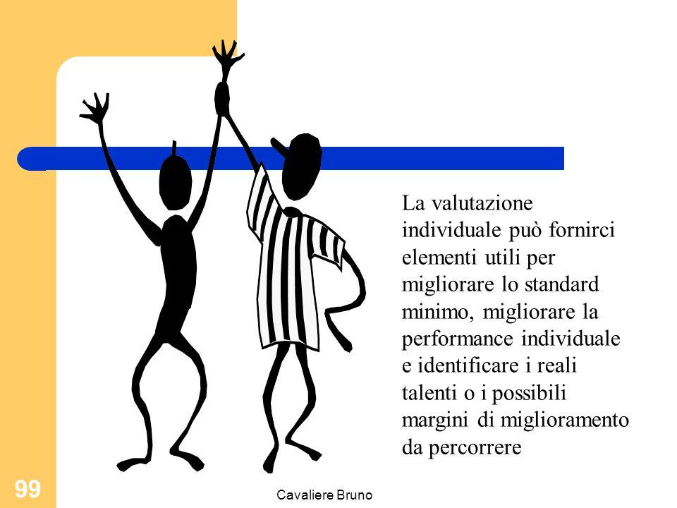 Cavaliere Bruno 98 La valutazione permanente della prestazione individuale Deve basarsi su strumenti condivisi orientata all'impiego di scale lineari