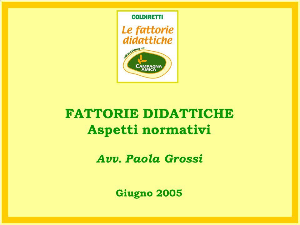 Giugno 2005 FATTORIE DIDATTICHE Aspetti normativi Avv. Paola Grossi