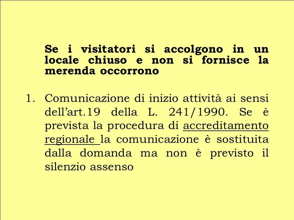 Se i visitatori si accolgono in un locale chiuso e non si fornisce la merenda occorrono 1.Comunicazione di inizio attività ai sensi dell'art.19 della L.