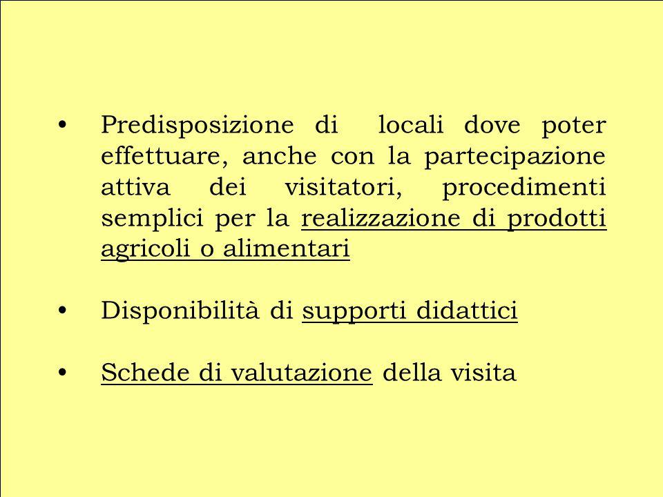 Predisposizione di locali dove poter effettuare, anche con la partecipazione attiva dei visitatori, procedimenti semplici per la realizzazione di prod