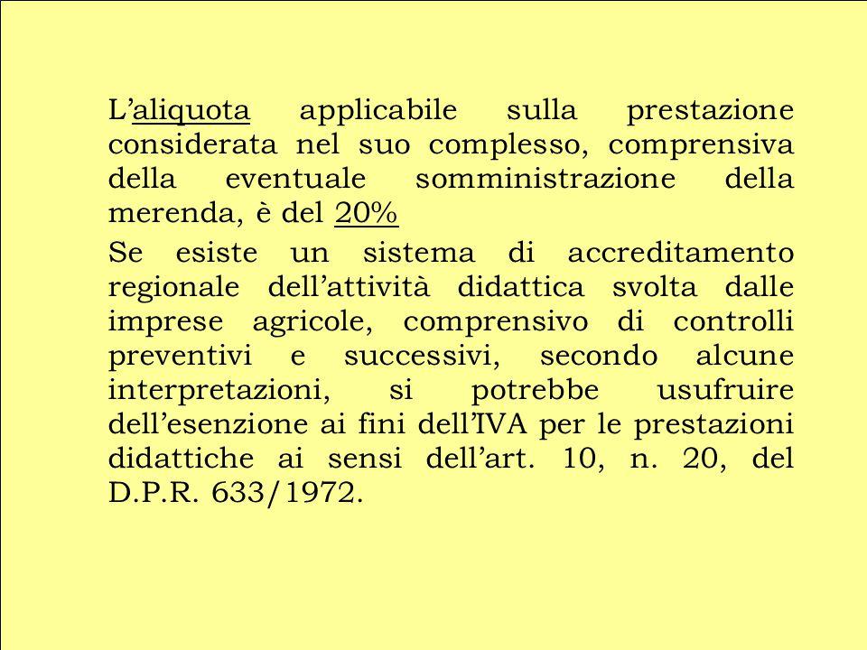 L'aliquota applicabile sulla prestazione considerata nel suo complesso, comprensiva della eventuale somministrazione della merenda, è del 20% Se esist