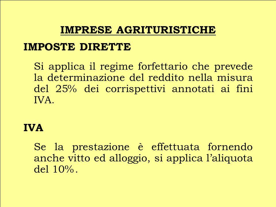 IMPRESE AGRITURISTICHE IMPOSTE DIRETTE Si applica il regime forfettario che prevede la determinazione del reddito nella misura del 25% dei corrispettivi annotati ai fini IVA.