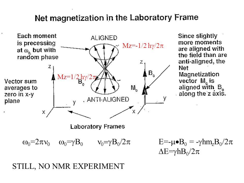  0 =2    0 =    0  0  Mz=-1/2 h  /2  E=-  B 0 = -  hm z B 0 /2   E=  hB 0 /2  STILL, NO NMR EXPERIMENT Mz=1/2 h  /2 