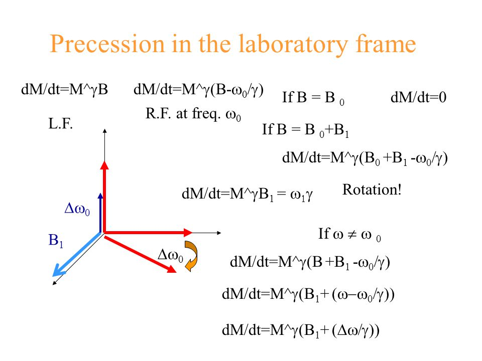 Precession in the laboratory frame  0 dM/dt=M^  BdM/dt=M^  (B-    ) L.F.