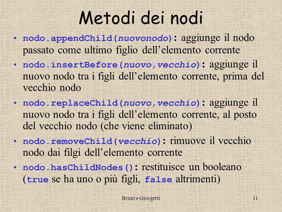 Bruni e Giorgetti12 Aggiungere testo alla pagina I Crea il tuo documento Con DOM puoi aggiungere paragrafi dinamicamente a questa pagina.