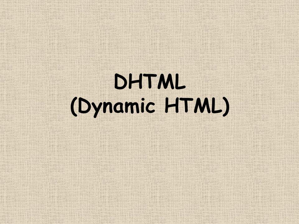Bruni e Giorgetti26 CSS-P + JS = DHTML Usando –layers –javascript –fogli di stile possiamo –creare (con HTML) –disporre (con CSS) –animare (con JS)