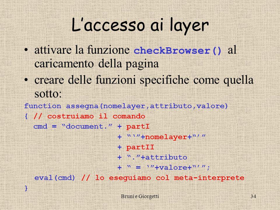 Bruni e Giorgetti35 Esempio Esempio d'uso … <input type= button value= Nascondi L1 onclick= assegna('L1','visibility','hidden') /> <input type= button value= Mostra L1 onclick= assegna('L1','visibility','visible') />