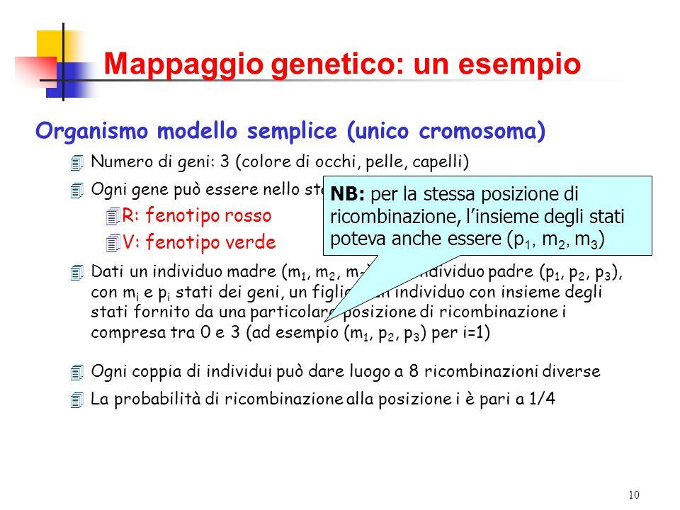 9 Mappaggio genetico Posizionamento approssimato di un gene su un particolare cromosoma (prima fase del gene hunting) Idea generale: analizzare la frequenza di diverse combinazioni di fenotipi nella discendenza per determinare l'ordine dei geni Prima mappa genetica: sei geni della Drosophila Melanogaster (Sturtevant, 1913)