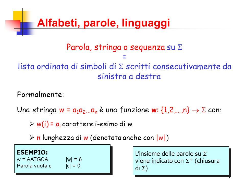 2 Alfabeti, parole, linguaggi Alfabeto = insieme finito  di elementi detti lettere, caratteri o simboli Esempi  = {0,1} Alfabeto binario  = {a, b, c,..., v, z} Alfabeto italiano  = {A, C, G, T} Alfabeto del DNA  = {GLY, ALA, VAL, LEU, …}Alfabeto delle proteine