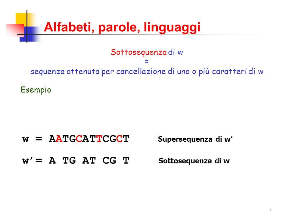 3 Alfabeti, parole, linguaggi Parola, stringa o sequenza su  = lista ordinata di simboli di  scritti consecutivamente da sinistra a destra Formalmente: Una stringa w = a 1 a 2 …a n è una funzione w: {1,2,…,n}   con   w(i) = a i carattere i-esimo di w  n lunghezza di w (denotata anche con |w|) ESEMPIO: w = AATGCA|w| = 6 Parola vuota  |  | = 0 ESEMPIO: w = AATGCA|w| = 6 Parola vuota  |  | = 0 L'insieme delle parole su  viene indicato con  * (chiusura di  ) L'insieme delle parole su  viene indicato con  * (chiusura di  )