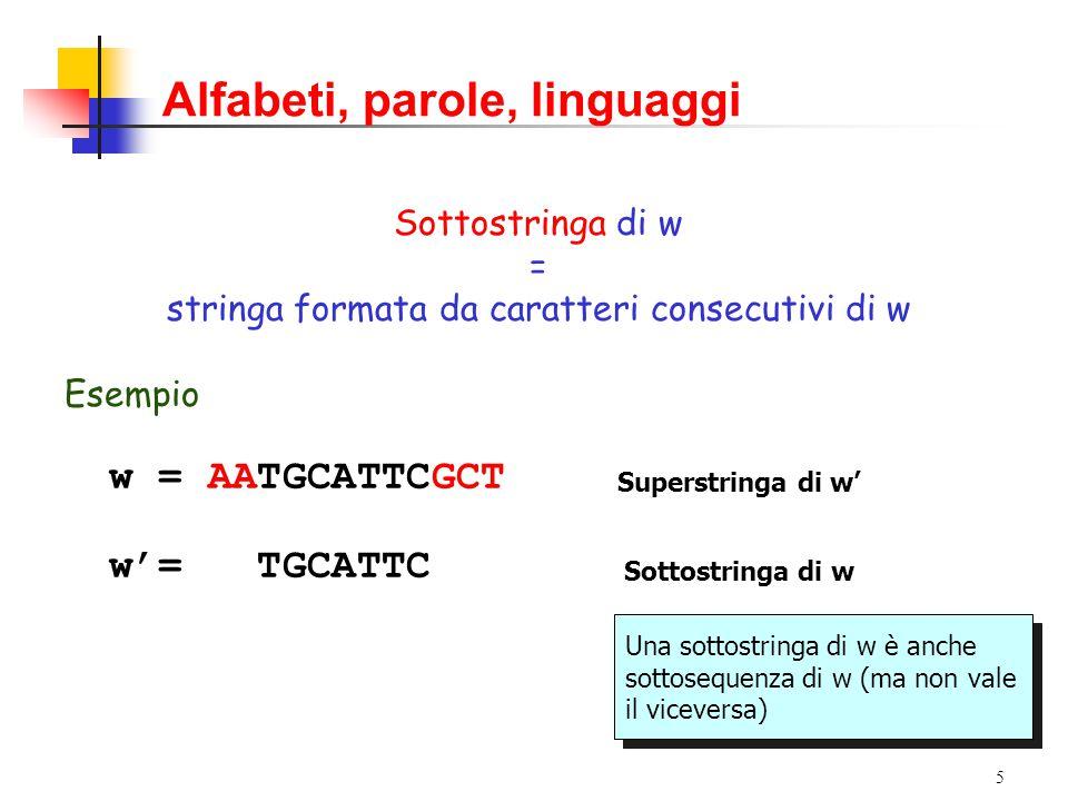 4 Alfabeti, parole, linguaggi Sottosequenza di w = sequenza ottenuta per cancellazione di uno o più caratteri di w Esempio w = AATGCATTCGCT w'= A TG AT CG T Supersequenza di w' Sottosequenza di w