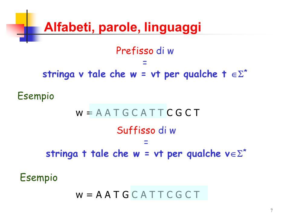 6 Alfabeti, parole, linguaggi v = AATGC w = ATTCGCT vw = AATGCATTCGCT Concatenazione di w e v, w  v = stringa formata dai caratteri di w, seguiti da