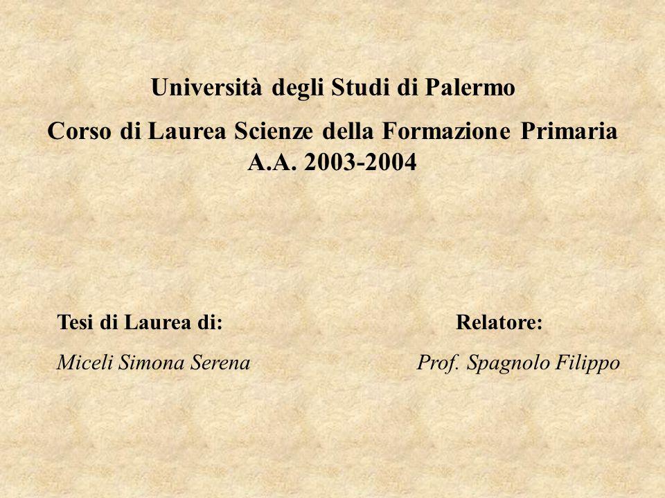 Corso di Laurea Scienze della Formazione Primaria A.A. 2003-2004 Università degli Studi di Palermo Tesi di Laurea di:Relatore: Miceli Simona Serena Pr