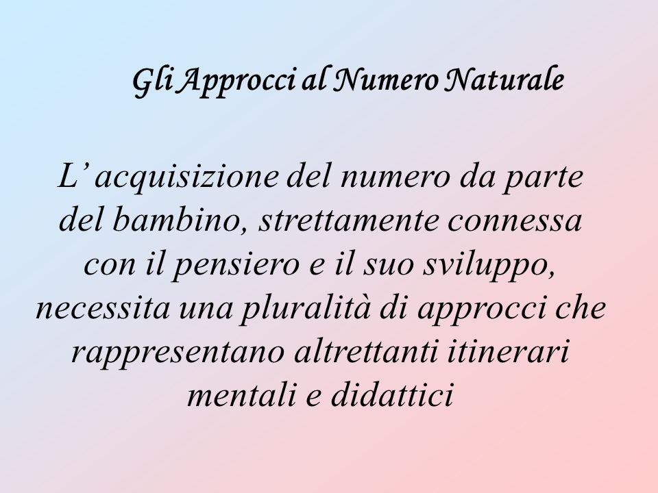 Gli Approcci al Numero Naturale L' acquisizione del numero da parte del bambino, strettamente connessa con il pensiero e il suo sviluppo, necessita un