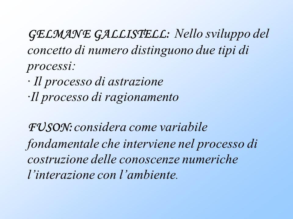 GELMAN E GALLISTELL: Nello sviluppo del concetto di numero distinguono due tipi di processi: · Il processo di astrazione ·Il processo di ragionamento