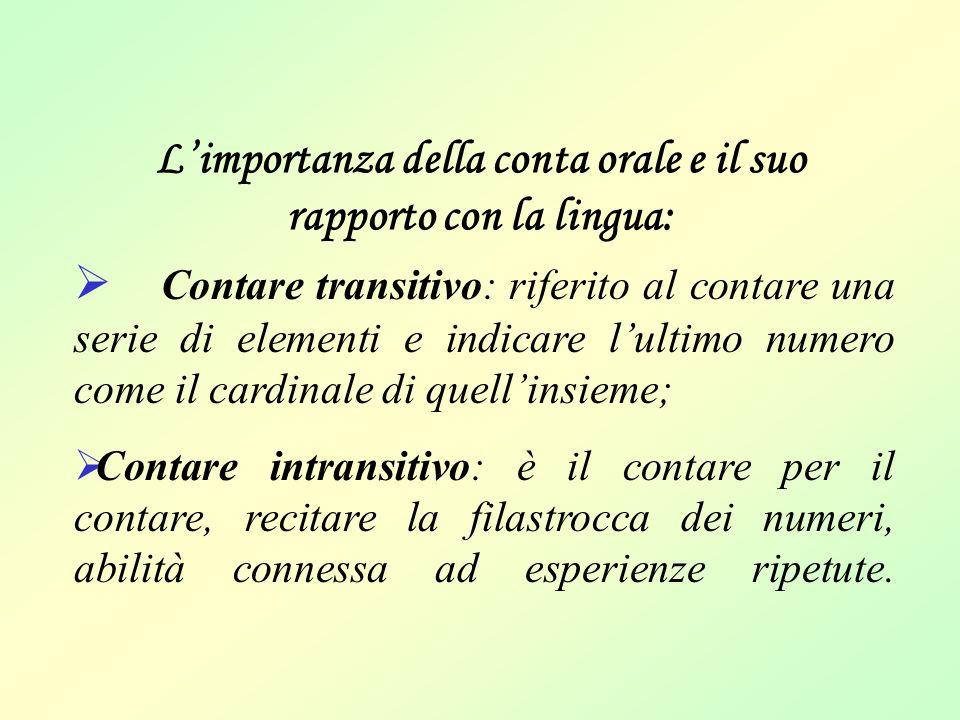 L'importanza della conta orale e il suo rapporto con la lingua:  Contare transitivo: riferito al contare una serie di elementi e indicare l'ultimo nu