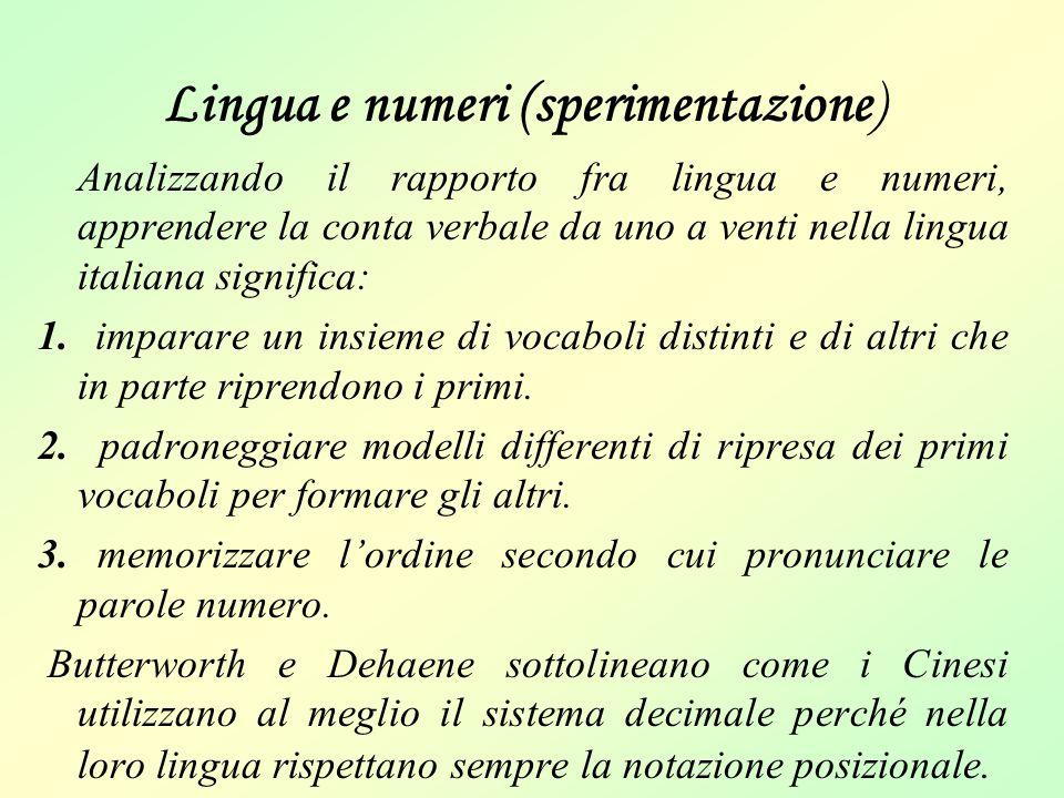 Lingua e numeri (sperimentazione) Analizzando il rapporto fra lingua e numeri, apprendere la conta verbale da uno a venti nella lingua italiana signif