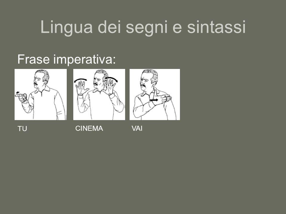 Lingua dei segni e sintassi Frase imperativa: TU CINEMAVAI