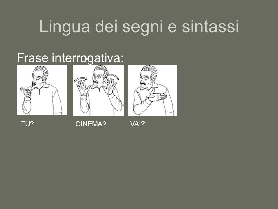 Lingua dei segni e sintassi Frase interrogativa: TU?CINEMA?VAI?