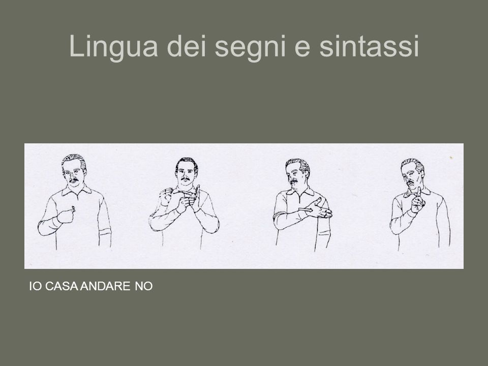 Lingua dei segni e sintassi IO CASA ANDARE NO
