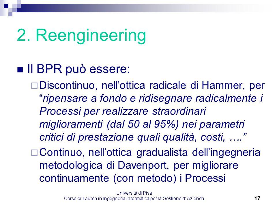 Università di Pisa Corso di Laurea in Ingegneria Informatica per la Gestione d' Azienda17 2. Reengineering Il BPR può essere:  Discontinuo, nell'otti