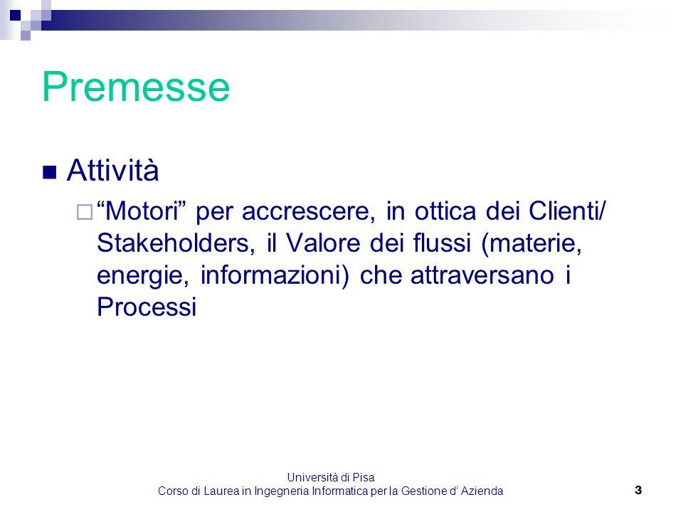"""Università di Pisa Corso di Laurea in Ingegneria Informatica per la Gestione d' Azienda3 Premesse Attività  """"Motori"""" per accrescere, in ottica dei Cl"""