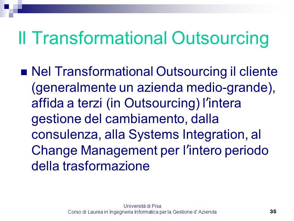 Università di Pisa Corso di Laurea in Ingegneria Informatica per la Gestione d' Azienda35 Il Transformational Outsourcing Nel Transformational Outsour