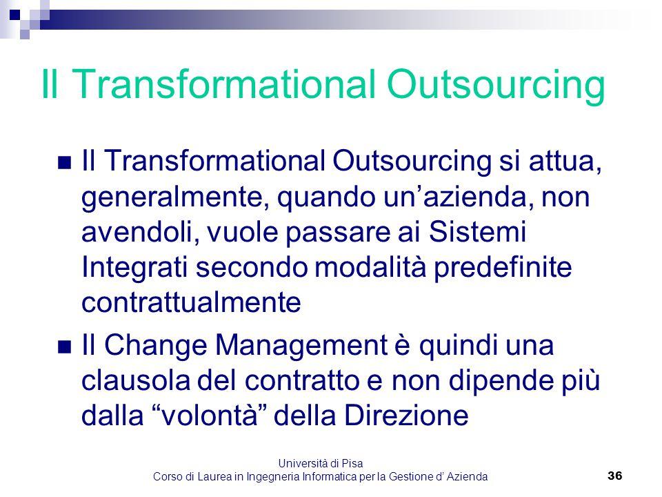 Università di Pisa Corso di Laurea in Ingegneria Informatica per la Gestione d' Azienda36 Il Transformational Outsourcing Il Transformational Outsourc