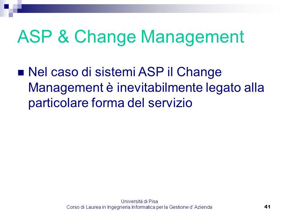 Università di Pisa Corso di Laurea in Ingegneria Informatica per la Gestione d' Azienda41 ASP & Change Management Nel caso di sistemi ASP il Change Ma