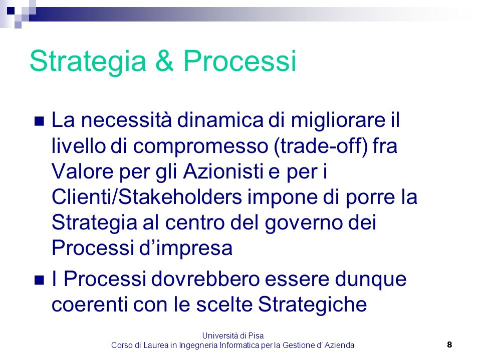 Università di Pisa Corso di Laurea in Ingegneria Informatica per la Gestione d' Azienda8 Strategia & Processi La necessità dinamica di migliorare il l