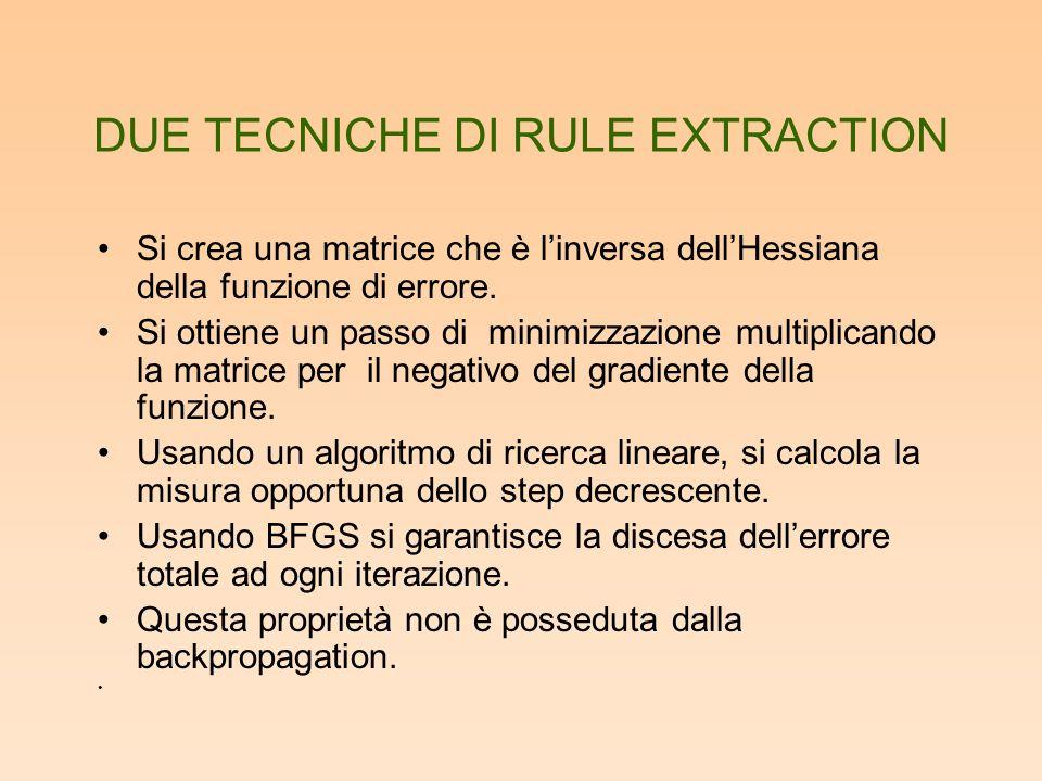 DUE TECNICHE DI RULE EXTRACTION Si crea una matrice che è l'inversa dell'Hessiana della funzione di errore. Si ottiene un passo di minimizzazione mult
