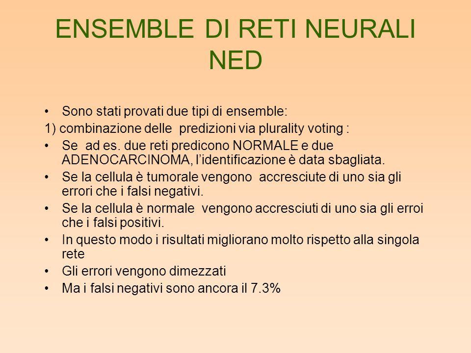 ENSEMBLE DI RETI NEURALI NED Sono stati provati due tipi di ensemble: 1) combinazione delle predizioni via plurality voting : Se ad es. due reti predi