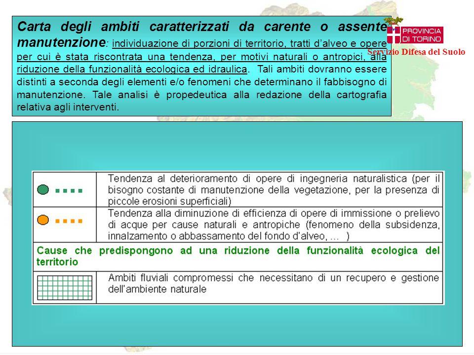 Carta degli ambiti caratterizzati da carente o assente manutenzione : individuazione di porzioni di territorio, tratti d'alveo e opere per cui è stata