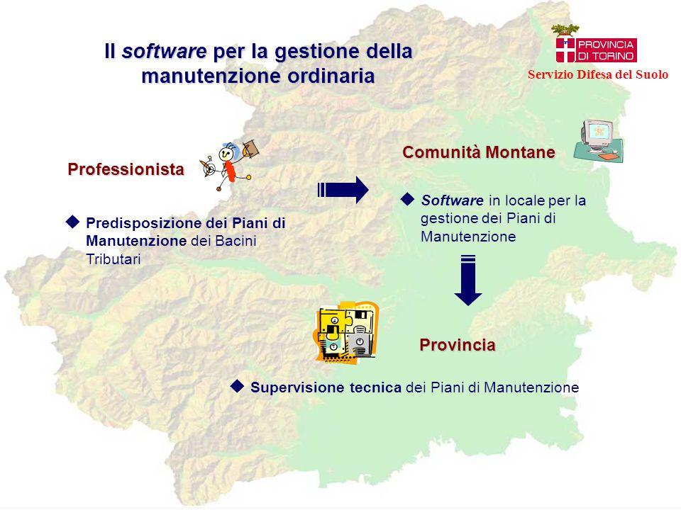 Professionista  Predisposizione dei Piani di Manutenzione dei Bacini Tributari Comunità Montane Provincia  Software in locale per la gestione dei Pi