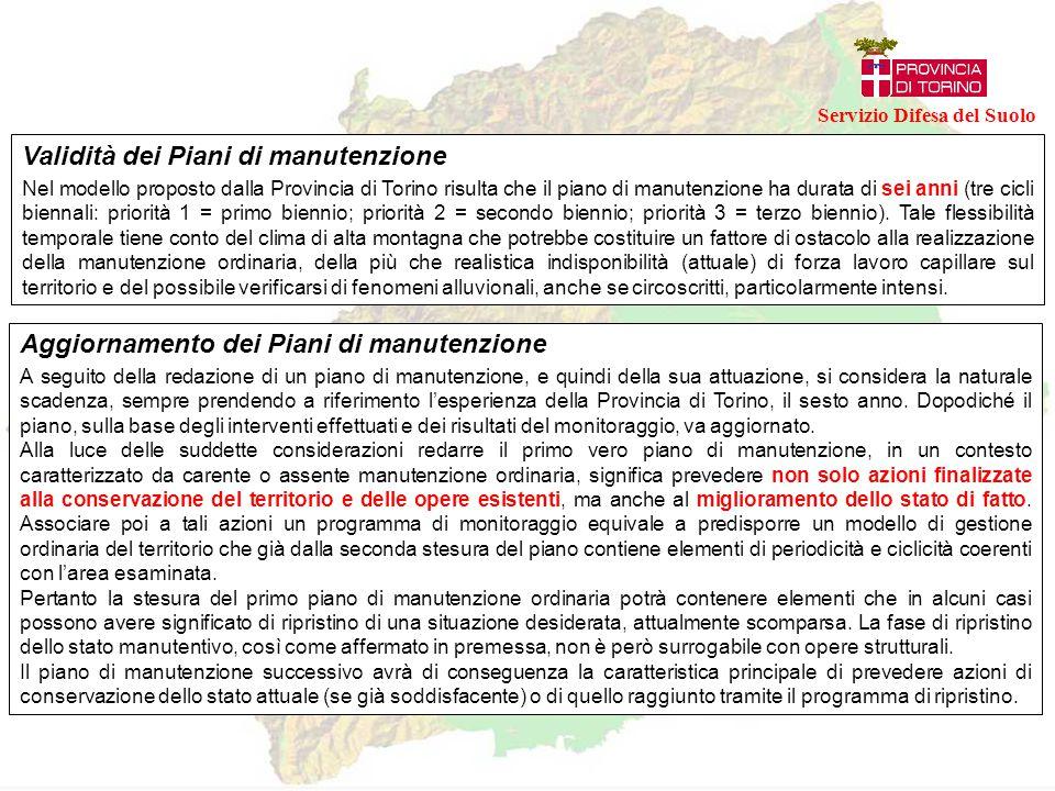 Validità dei Piani di manutenzione Nel modello proposto dalla Provincia di Torino risulta che il piano di manutenzione ha durata di sei anni (tre cicl