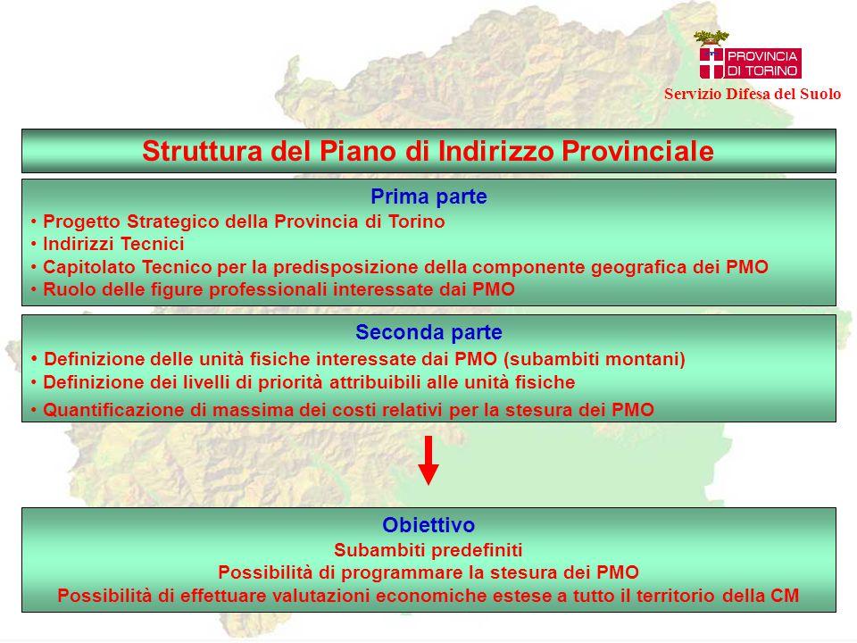 Struttura del Piano di Indirizzo Provinciale Servizio Difesa del Suolo Prima parte Progetto Strategico della Provincia di Torino Indirizzi Tecnici Cap