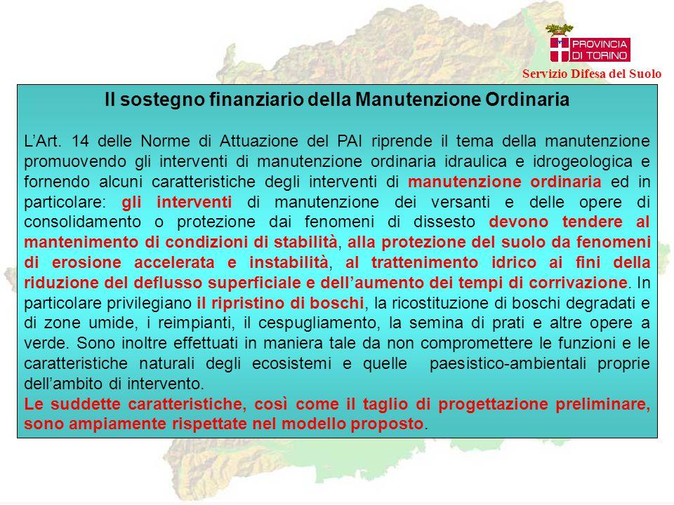 Il sostegno finanziario della Manutenzione Ordinaria Il finanziamento della manutenzione ordinaria è prevista dall'Autorità di Bacino del Fiume Po, in