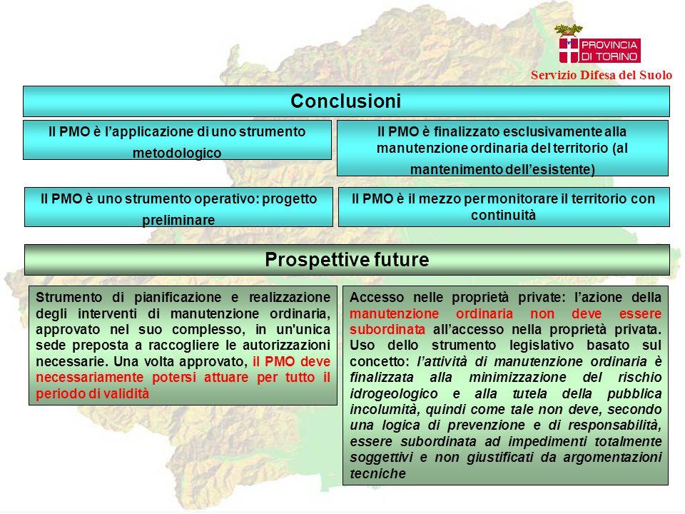 Conclusioni Il PMO è l'applicazione di uno strumento metodologico Il PMO è finalizzato esclusivamente alla manutenzione ordinaria del territorio (al m